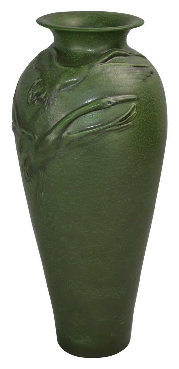 Ephraim Faience Pottery 2004 Matte Green Cranes In Flight Show Vase - Just Art Pottery