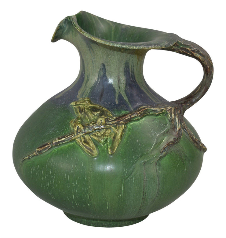 Ephraim Faience Pottery 2006 Experimental Frog on Branch Pitcher - Just Art Pottery