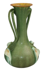 Ephraim Faience Pottery 2007 Experimental Handled Calla Lily Vase - Just Art Pottery