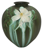 Ephraim Faience Pottery 2007 Magnificent Magnolia Matte Green Show Vase A52 - Just Art Pottery