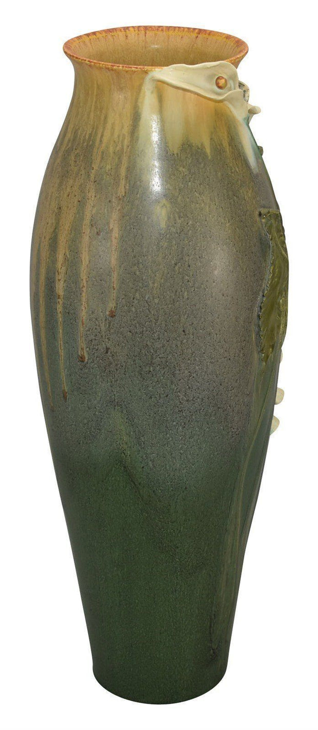 Ephraim Faience Pottery 2009 Large Calla Lily Red Wing Show Floor Vase C70 - Just Art Pottery
