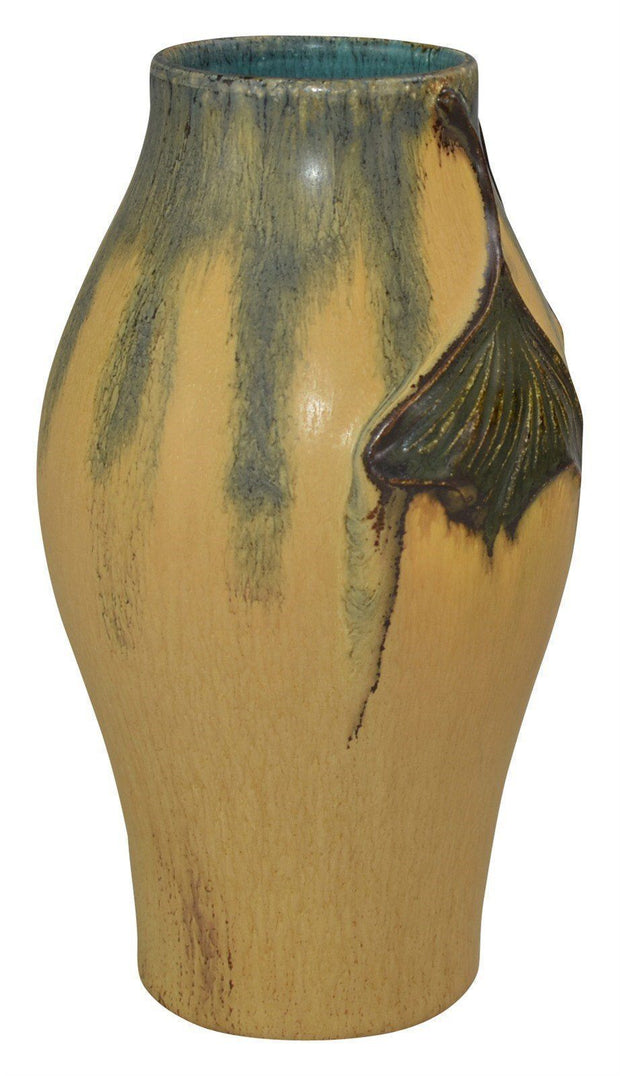 Ephraim Faience Pottery 2009 Limited Edition Ginkgo Leaf Yellow Ceramic Vase - Just Art Pottery