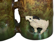 Ephraim Faience Pottery 2012 Mountain Goats Twin Cities Show Piece F53 - Just Art Pottery