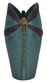 Ephraim Faience Pottery 2013 Century Studios Colorful Dragonfly Vase - Just Art Pottery