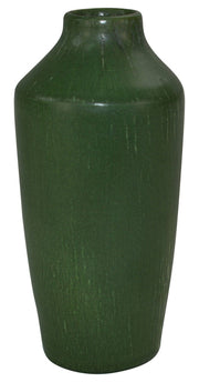 Ephraim Faience Pottery Leaf Green Classically Shaped Vase from Just Art Pottery
