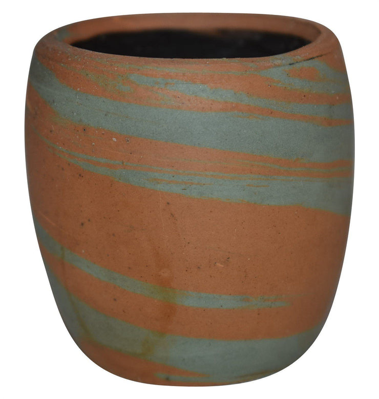 Evans Pottery Mission Swirl Blue And Brown Shot Glass from Just Art Pottery