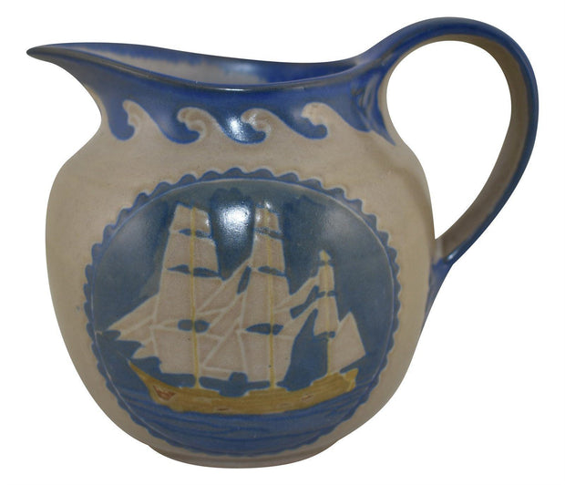 Marblehead Pottery Colorful Sailing Ships Pitcher (Baggs) - Just Art Pottery