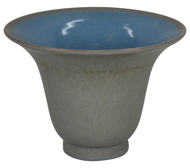 Marblehead Pottery Flaring Rim Mottled Matte Gray Bowl from Just Art Pottery