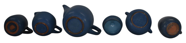 Marblehead Pottery Matte Blue Tea Set Shape 98 And Two Mugs - Just Art Pottery