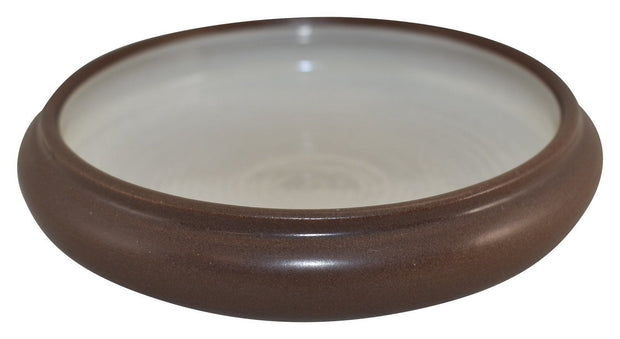 Marblehead Pottery Matte Dark Brown Low Ribbed Bowl Shape 64 - Just Art Pottery