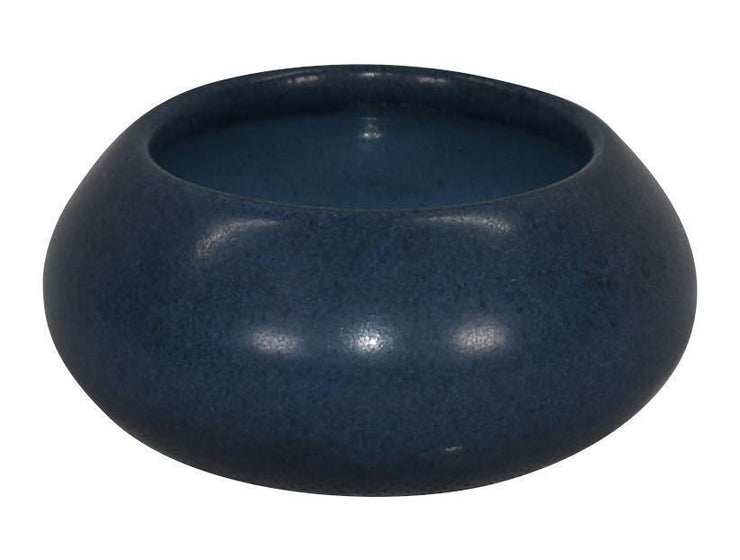 Marblehead Pottery Mottled Matte Blue Cabinet Bowl Shape 100 - Just Art Pottery