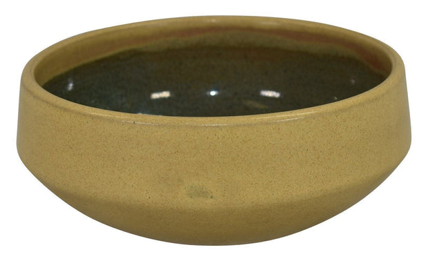 Marblehead Pottery Mottled Matte Yellow And Brown Bowl - Just Art Pottery