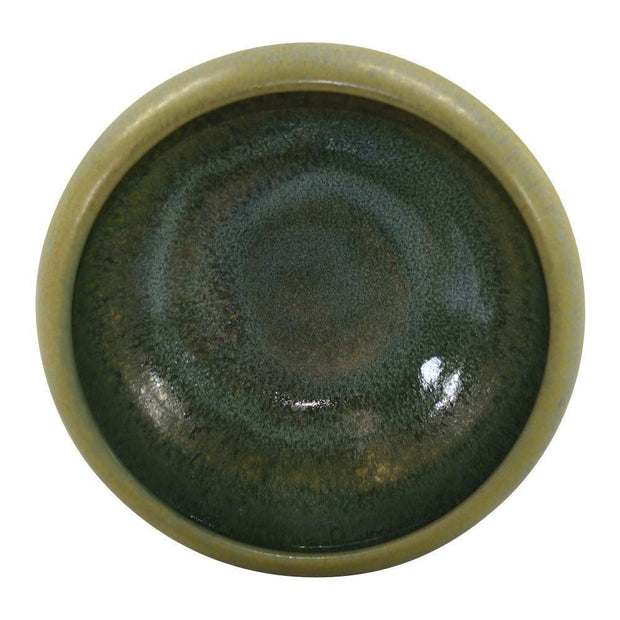 Marblehead Pottery Mottled Olive Green And Brown Bowl - Just Art Pottery