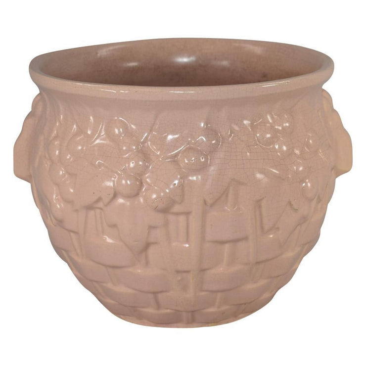 McCoy Pottery 1930s Pink Basket Weave With Leaves And Berries Jardiniere 38 from Just Art Pottery