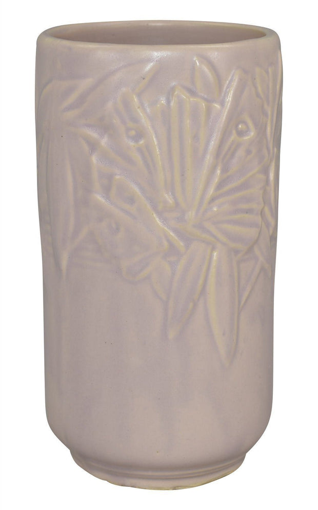 McCoy Pottery 1940s Butterfly Line Lavender Cylindrical Vase - Just Art Pottery