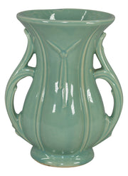McCoy Pottery 1948 Handled Green Ceramic Mid Century Modern Vase - Just Art Pottery