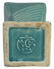 McCoy Pottery Art Deco Aqua Square Aqua Ceramic Vase - Just Art Pottery
