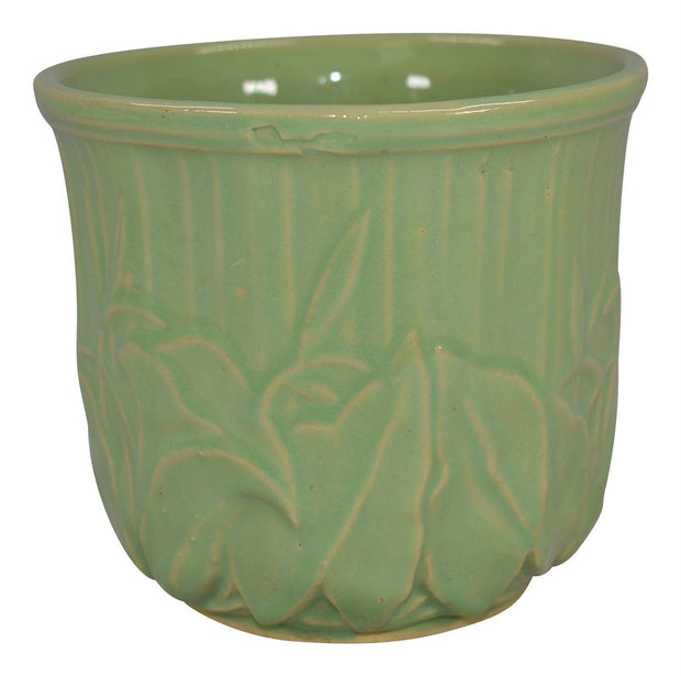 McCoy Pottery High Glaze Green Leaves Flower Pot - Just Art Pottery