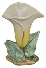 McCoy Pottery White And Yellow Lily Bud Flower Form Ceramic Vase 73 - Just Art Pottery