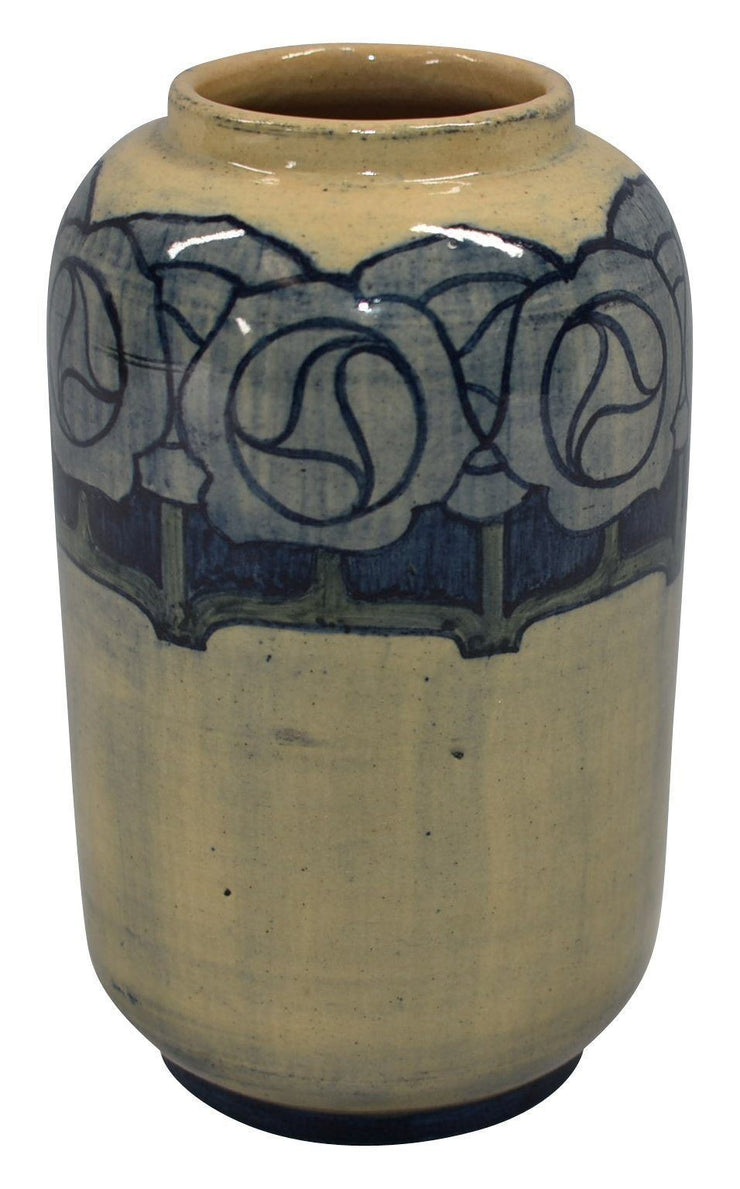 Newcomb College Pottery 1903 Art Deco Blue Floral Vase (Lonnegan) - Just Art Pottery