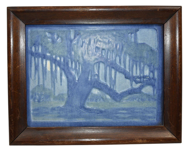Newcomb College Pottery 1923 Moss Laden Oak Tree And Moon Framed Plaque (Irvine) - Just Art Pottery