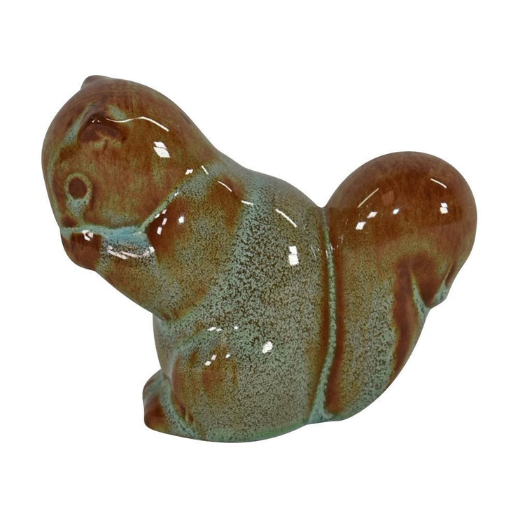 Nicodemus Pottery High Glaze Brown With Green Squirrel Figurine from Just Art Pottery