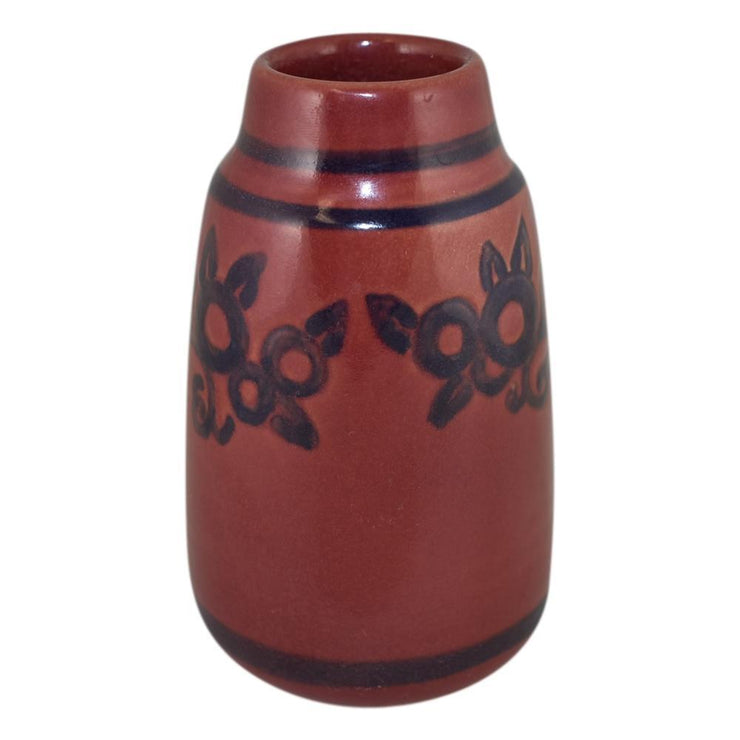 North Dakota School of Mines Pottery 1929 Art Deco Floral Red Vase (Huck) - Just Art Pottery