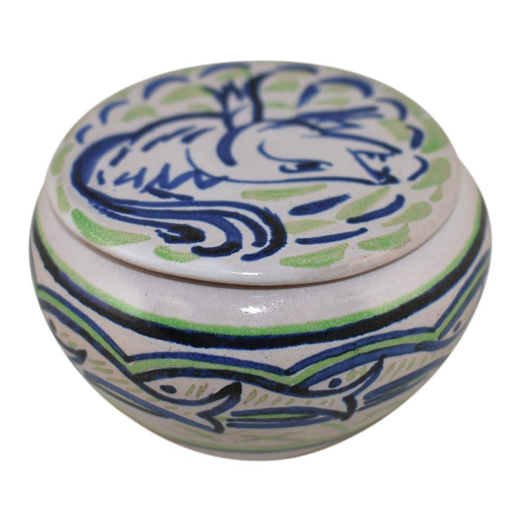 North Dakota School of Mines Pottery Covered Bowl With Fish Design - Just Art Pottery
