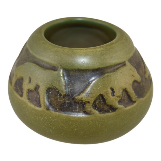 North Dakota School of Mines Pottery Green Coyote Vase (Mattson) - Just Art Pottery