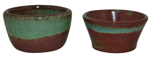 Pair Of Pine Ridge Sioux Dakota Pottery Brown And Green Bowls (Woody And Cox) - Just Art Pottery