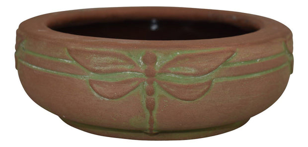 Peters And Reed Pottery Moss Aztec Dragonfly Bowl - Just Art Pottery