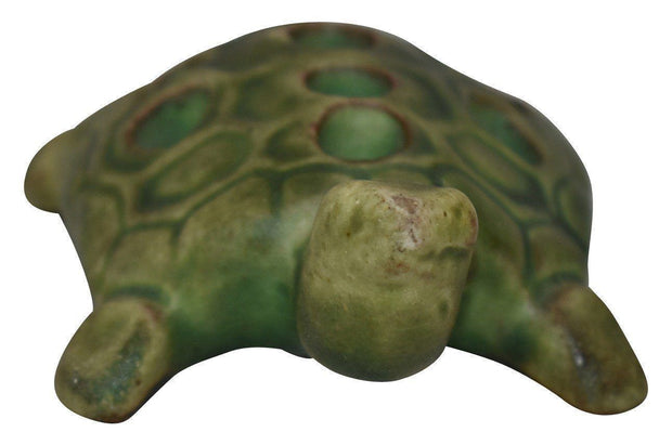Peters And Reed Pottery Pereco Matte Green Turtle Flower Frog - Just Art Pottery