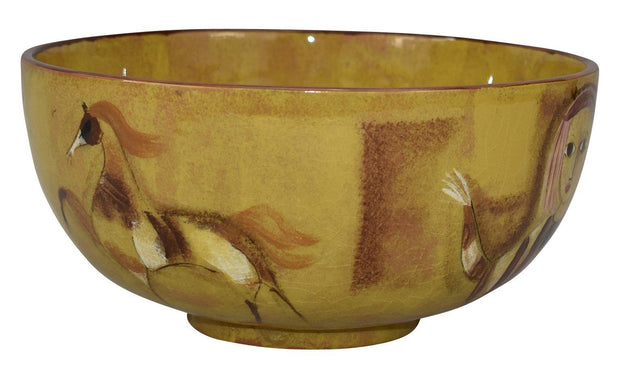 Pillin Pottery Scenic Figural Yellow Mid Century Modern Bowl - Just Art Pottery
