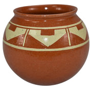 Pine Ridge Sioux Dakota Pottery Ball Shaped Geometric Design Vase (Wounded Knee) - Just Art Pottery
