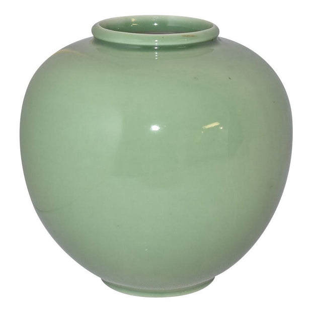 Rookwood Pottery 1950 Large Bulbous Green Mid Century Modern Vase 6204C - Just Art Pottery
