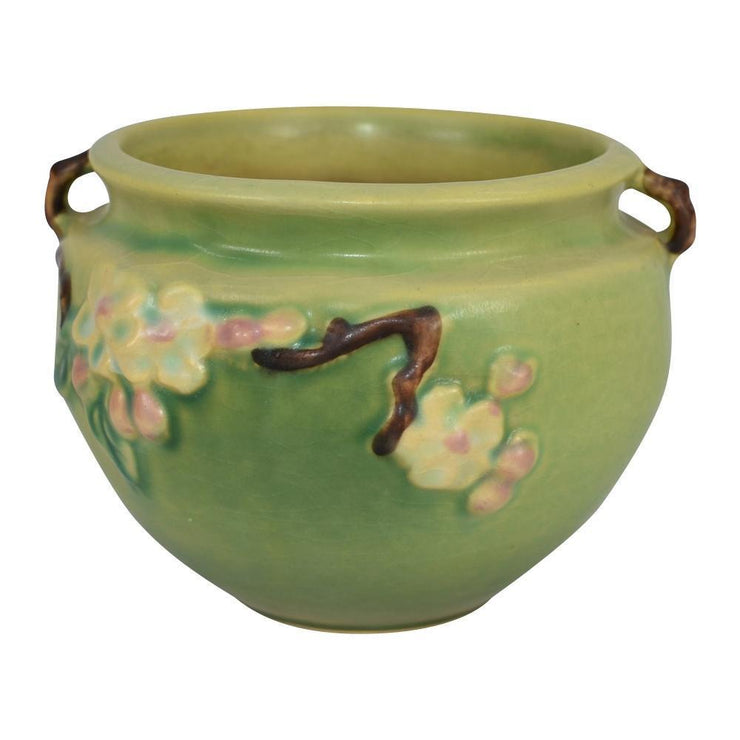 Roseville Pottery Apple Blossom Green Jardiniere 300-4 - Just Art Pottery