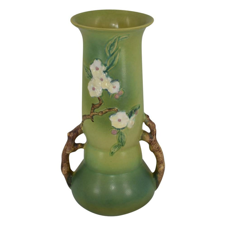 Roseville Pottery Apple Blossom Green Vase 392-15 from Just Art Pottery