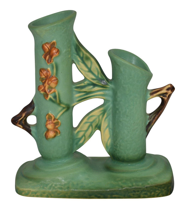 Roseville Pottery Bittersweet Green Double Bud Vase 873-6 from Just Art Pottery