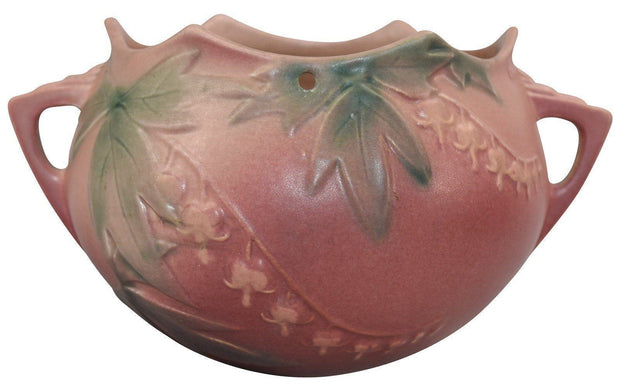 Roseville Pottery Bleeding Heart Pink Art Deco Hanging Basket 362-5 - Just Art Pottery