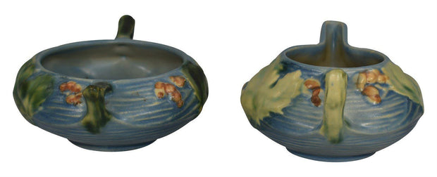 Roseville Pottery Bushberry Blue Sugar Bowl 2-S And Creamer 2-C - Just Art Pottery