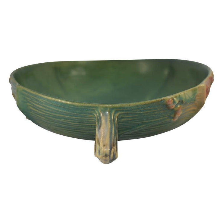 Roseville Pottery Bushberry Green Console Bowl 414-10 - Just Art Pottery