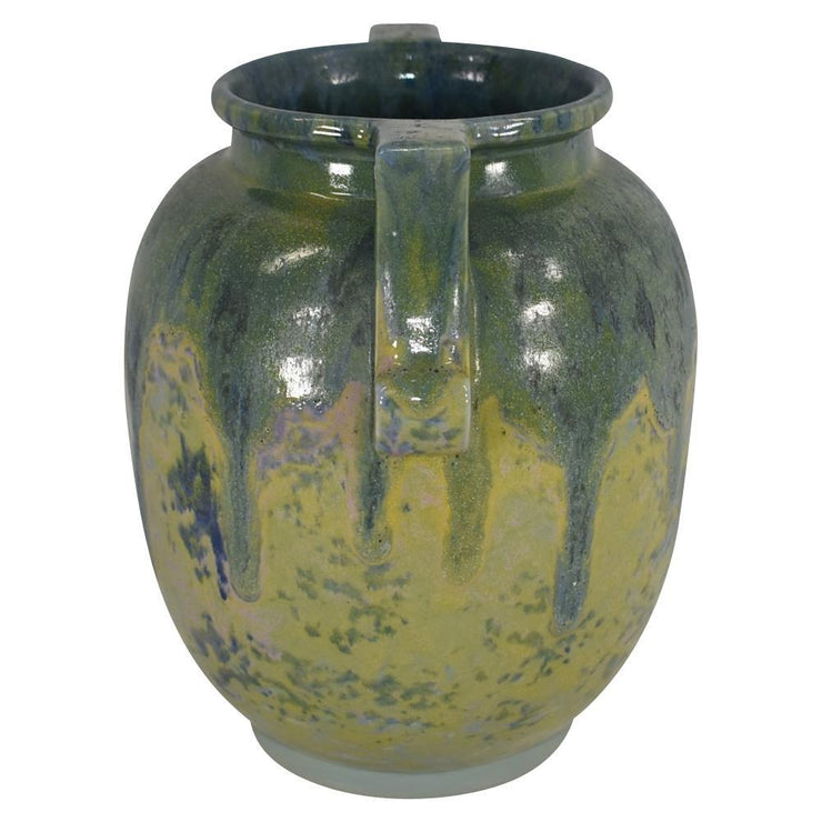 Roseville Pottery Carnelian II High Glaze Green Yellow With Blue Drip Vase 336-9 from Just Art Pottery