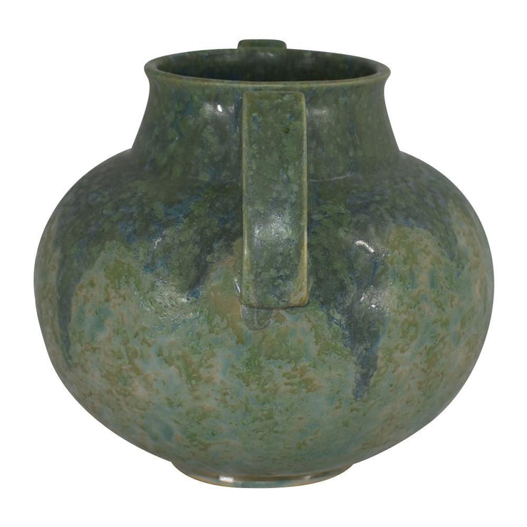 Roseville Pottery Carnelian II Mottled Green And Blue Arts And Crafts Vase 335-8 from Just Art Pottery