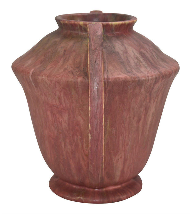 Roseville Pottery Carnelian II Red Ceramic Vase 334-8 - Just Art Pottery