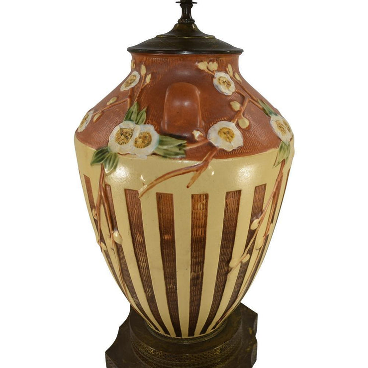 Roseville Pottery Cherry Blossom Brown Lamp 628-15 - Just Art Pottery