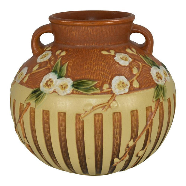 Roseville Pottery Cherry Blossom Brown Vase 625-8 from Just Art Pottery