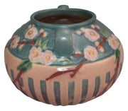 Roseville Pottery Cherry Blossom Pink Ceramic Vase 621-6 - Just Art Pottery