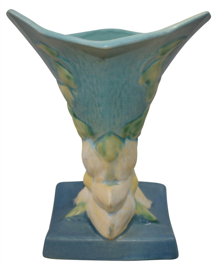 Roseville Pottery Clematis Blue Cornucopia 191-8 from Just Art Pottery