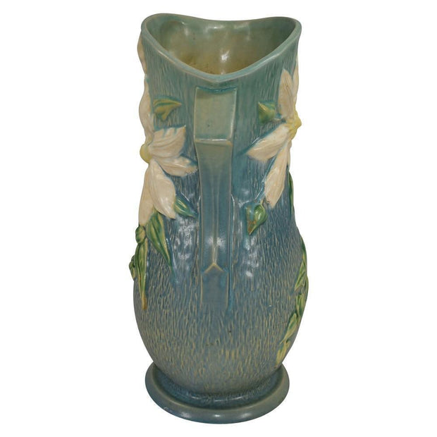 Roseville Pottery Clematis Blue Vase 114-15 - Just Art Pottery
