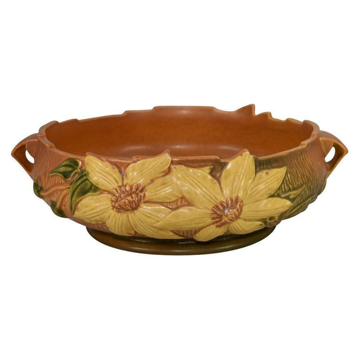 Roseville Pottery Clematis Brown Compote 6-10 - Just Art Pottery